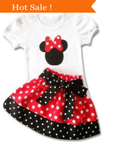 retail 2014 summer fashion kids Minnie girls clothes, Mickey short sleeve T-shirt +Polka Dot skirt girls' set clothing