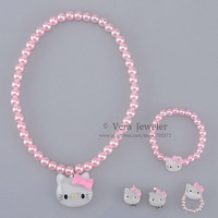 Hello Kitty Set Kids Jewelry Sets Childrens Jewellery Charm Necklace Bracelet Ring Earrings 24sets Free Shipping Luster Beads