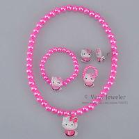 2 Colors Girl Sit Hello Kitty Charm Kids Jewelry Set Children's Jewellery Elastic Choker Necklace Bracelet Ring Earrings 24sets