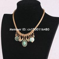 Fashion Women Jewelry Turquoise Necklace Acrylic Flower Bubble Bib Statement Necklace