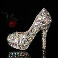 colorful crystal rhinestone  high heels platform bridal wedding Shoes women shoes 2014