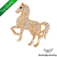 New Arrival Fashion Full Rhinestone Golden Horse Brooch Pins Free shipping Wholesale Women Brooch