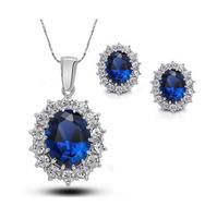 Wholesale New arrival 5colors Queen Brand Design 18K Austrian Royal Blue Crystal Pendant Necklace Earrings Fine Jewelry set 1194