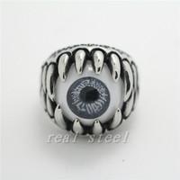 Monster Teeth  Gray White  Eye Ring Charming Finger Stainless Steel Ring PUNK Gothic Eyeball Rings Birthday Or Christmas Gift