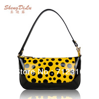 Genuine Leather Ladies Handbags Cowhide Women's Handbag  Dot Print Evening Shoulder Bag Clutches/3 Colors DC33