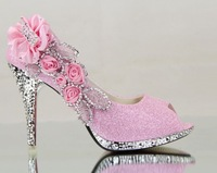 10cm Women's shoes big flower red wedding shoes high-heeled shoes silver gold bridal shoes open toe sandals