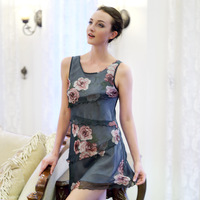 enchanting rose floral flounced silk stitching Slim was thin nightgown elegant women tracksuit 23456