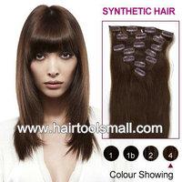 Retail Synthetic Clip In On Hair Extension Kanekalon High Temperature Fiber 7pcs 100g 1set 4#