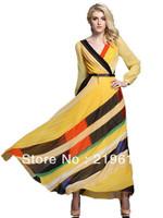 2013 autumn long sleeve bohemia full maxi dress ankle / floor length plu size women formal evening dresses yellow size  L XL 2XL