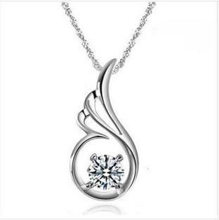 Z-088  925 silver New fashion pendants wholesale angel wings folded simplicity women