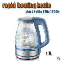 Free shipping, Bear rapid electric heating kettle boron silicon glass kettle 1.7L 220v 1850w blue color