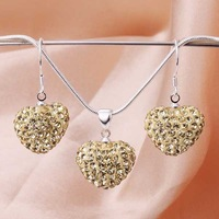 Free Shipping 925 Silver Jewelry Set Disco Ball Beads Cute Crystal Shamballa Sets Fasion Sterling Necklace Earring SBS042