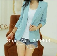 Free Shipping 2013 New Fashion Autumn Women's suits Foldable Sleeve Blazer Jacket Candy Color Suit One Button