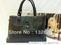 Freeshipping 100% Genuine Leather Handbags Brand Handbag Luxury Women Fashion Bags Plaid Women Handbag Shoulder Bags.TopQuality