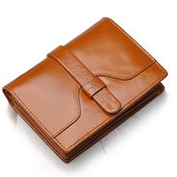 cowhide wallet female Vintage wax short design genuine leather women wallet drawstring female purse