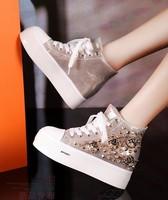 cool Rivet punk shoes increased single shoes for women's shoes Upscale fashionable rivets platform shoes