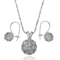 Free Shipping 18K GP Gold Plated Jewelry Set Fashion Nickel Free Tin Alloy Rhinestone Crystal Necklace Earring SMTPS084