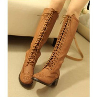Fashion leg autumn and winter boots cutout vintage retro finishing lacing boots high-leg boots