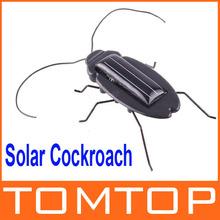 Solar Power Energy Black Cockroach  Bug Toy Children Fun Gadget Office School  wholesale(China (Mainland))