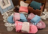 (5pairs/lot)100% cotton thickening winter thermal wool  loop pile towel women socks