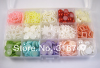 Free shipping 500pcs Mixed 15 styles Pearl Bead With Compartment Plastic Box Pack