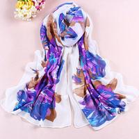 Sheegior New Fashion Women's Flower printed Design georgette silk scarf Lady's scarf Min.order $10 mix order Free shipping