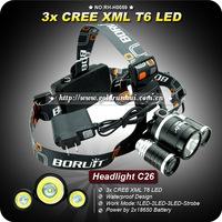 1 PC 1PC NEW Design Headlamp 3*CREE XML XM-L T6 LED 3000 Lumens 4 Mode 2*18650 Waterproof Front Light LED Headlight