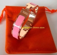 Rose Gold Plated Brand H 316L Stainless Steel Bangle Genuine Lacquer Enamel Top Quality Narrow(1.2CM) Gold, Rose Gold, Silver