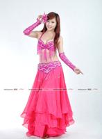 BELLYQUEEN~BELLYQUEEN~#849 Professional Belly Dance Costume 5Pcs(Bra+Belt+Skirt+2pcs Armbands),100%Handmade Costume,6Colors