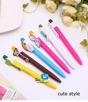 FREE SHIPPING Ballpoint Pen Animal Bookmark Korean Promotion Plastic Cute Stationery Kids Gift 6Styles 170pcs/lot say hi 0325