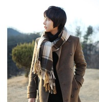 2013 The new men's lattice in autumn and winter warm wool knitted scarf HJ456