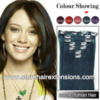 Free Shipping  20inch 50cm  8pcs set Clips on Remy human hair extension  #blue color 100g