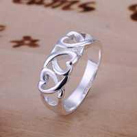 Free Shipping 925 Sterling Silver Ring Fine Fashion Three Kelp Ring Women&Men Gift Silver Jewelry Finger Rings SMTR090