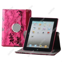 S5Q China rose Flower Design 360 Rotating PU Leather Case Cover For NEW iPad 2 3 4 Free Drop Shipping