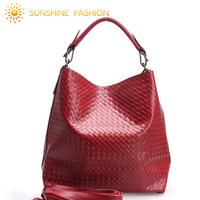 2014 NEW Chain Knitted Embossed Genuine Leather handbag Women Cowhide shoulder Handbags of famous brands Totes messenger bag