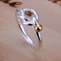 Free Shipping 925 Sterling Silver Ring Fashion Color Separation Bead Ring Women&Men Gift Silver Jewelry Finger Rings SMTR044
