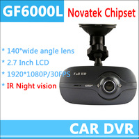 2013 New Arrival car dvr camera GF6000L 1080p hd recorder night vision 140 degrees G-Sensor 2.7 Inch HD1920*1080P Free Shipping