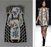 Top Grade Runway New Arrive Fashion Embroidery  Women Beaded Dresses