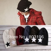 5Pcs/Lot Autumn Winter Star Knitted Hats Fashion Women Men Beanies Skullies Baseball Hats Free Shipping