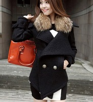2013 New England winter fur collar Slim simulation raccoon fur collar wool coat woolen jacket 119 #
