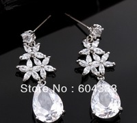 Pretty 1 Pair  Drop Crystal Zircon  Dangle  Earrings Zirconia Flower Dangle Earrings Bridal Jewelry