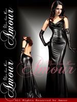 Sexy Black PVC Leather Cheongsam Dance Nightclubs Clothing include Gloves Dress