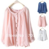 Pure Color Round Collar Long Sleeve Loose Short Tshirt 20501