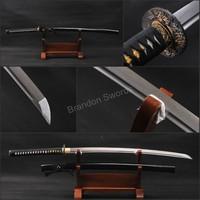 Art Home Decoration Fully Handmade Japanese Katana Damascus Steel Sharp Sword Riffled Hamon * 706