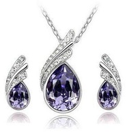 Fashion Austria  Crystal  Water drop leaves Earrings necklace jewelry sets  Classic Wedding Dress B9.5