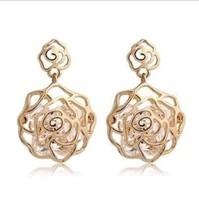 Fashion  Crystal   Hollow imitation zircon rose flower earring wholesale