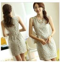 2014 OL Dress women Slim Fashion  Elegant Ladies O-Neck Sleeveless Casual Summer Party Dress with belt  free shipping