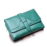 Vintage wax cowhide wallet female medium tri-fold wallet lady genuine leather short design multifunctional purse