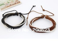PSL085 Best Selling Hot Items Genuine Handmade Leather Braided Cord Wax Rope Bracelets Stock For Lover Couple