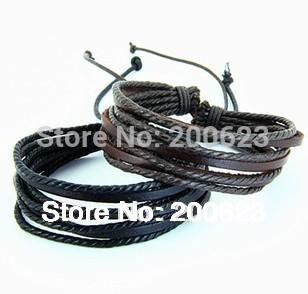 Leather bracelet/ Wrap Leather Braided Rope Bracelet/Fashion Leather Jewelry/ Multilayer Genuine Leather Bangle for Men Women(China (Mainland))